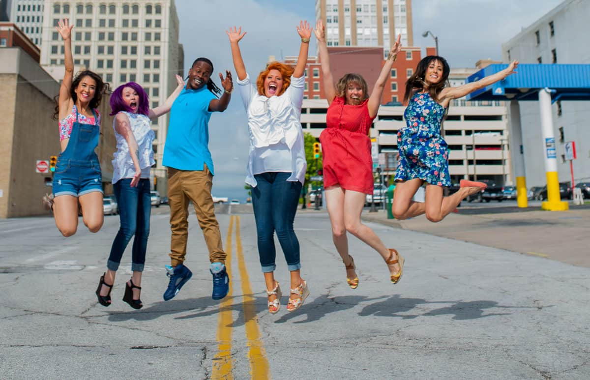 clary sage college students jumping in downtown tulsa ok