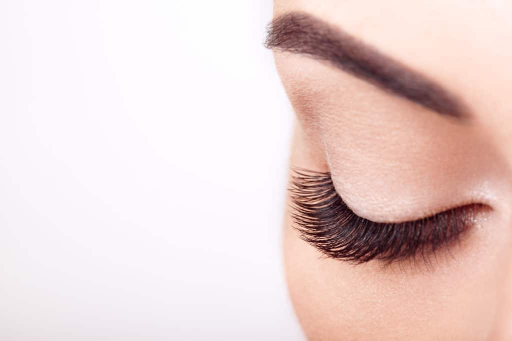 Female Eye with Extreme Long False Eyelashes. Eyelash Extensions.