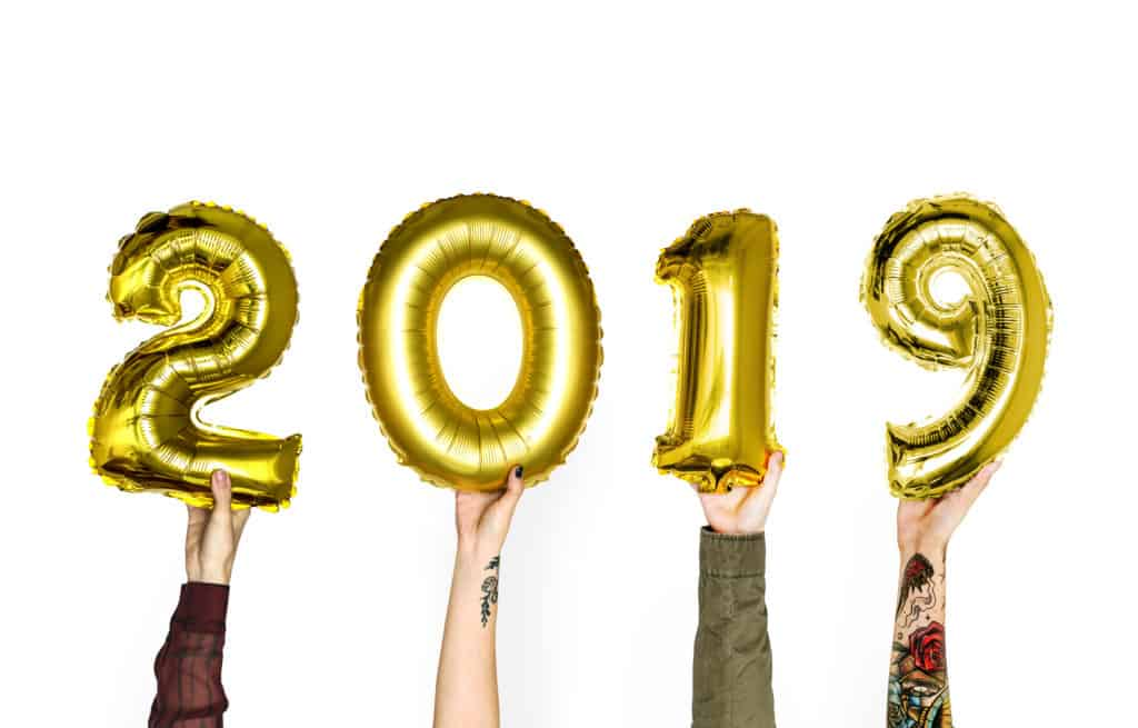 Hands Holding New Year 2019 Balloon